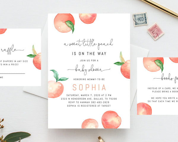 Peach Baby Shower Invitation Template, Printable Sweet Little Peach Baby Shower Invite, Peach Themed Baby Shower Invitation, Templett, B15