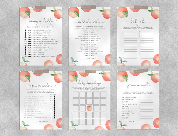 Peach Baby Shower Game Templates Bundle, Printable Little Peach Baby Shower Games Instant Download, Templett, B15