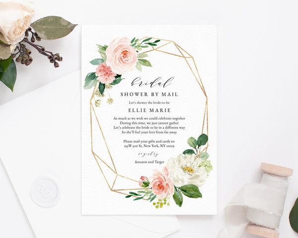 Bridal Shower By Mail Template, Social Distancing, Blush Bridal Shower Invitation, Long Distance Bridal Shower Template, Templett, W29