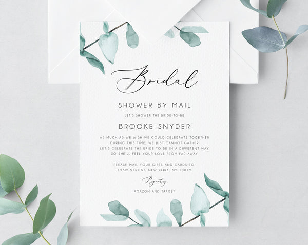 Bridal Shower By Mail Template, Social Distancing, Eucalyptus Bridal Shower Invitation, Long Distance Bridal Shower Template, Templett, W21