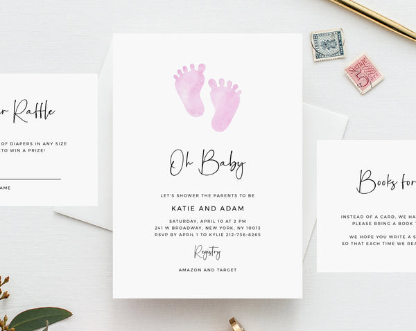Baby Shower Invitation Template, Printable Minimalist Baby Shower, Pink Baby Feet Baby Shower Invitation, Templett, B36