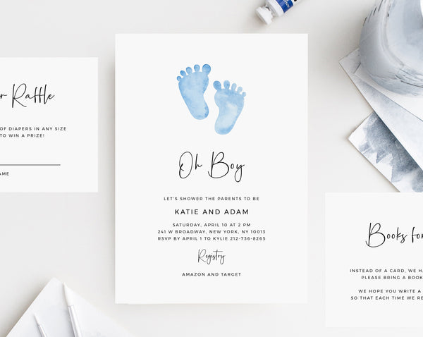 Baby Shower Invitation Template, Printable Minimalist Baby Shower, Blue Baby Feet Baby Shower Invitation, Templett, B36