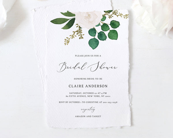 White & Greenery Bridal Shower Invitation Template, Printable Bridal Shower, Eucalyptus Bridal Shower Invites, Templett, W42