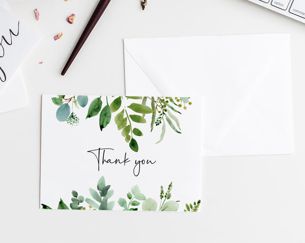 Greenery Thank You Card Template, Printable Baby Shower Thank You Tent Card, Wedding Thank You Card,Instant Download, Templett, B48, W48