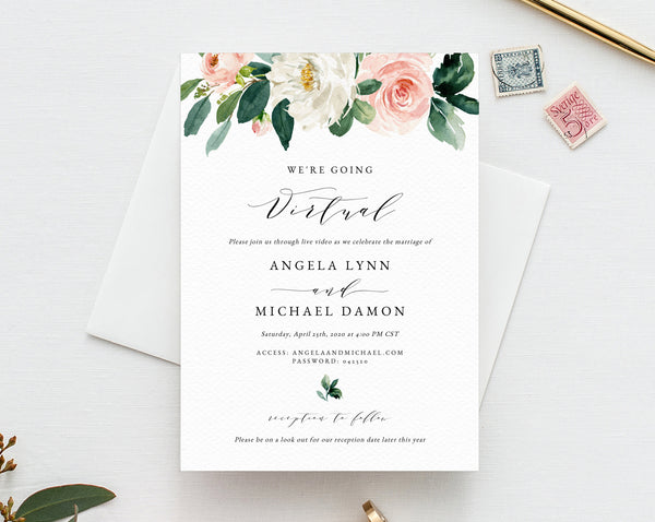 Virtual Wedding Ceremony Invitation Template, Printable Virtual Wedding Invite, Social Distancing, New Wedding Plan Announcement, W29