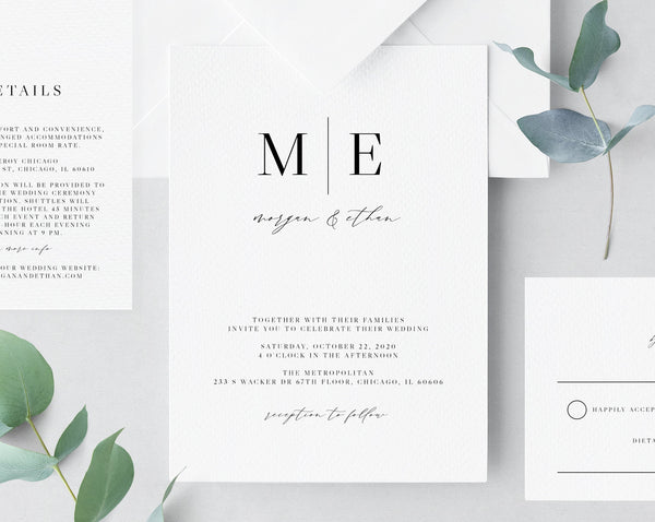 Wedding Invitation Template, Printable Wedding Invitation Suite, Simple Minimalist Wedding Invitation Set, Templett, W52
