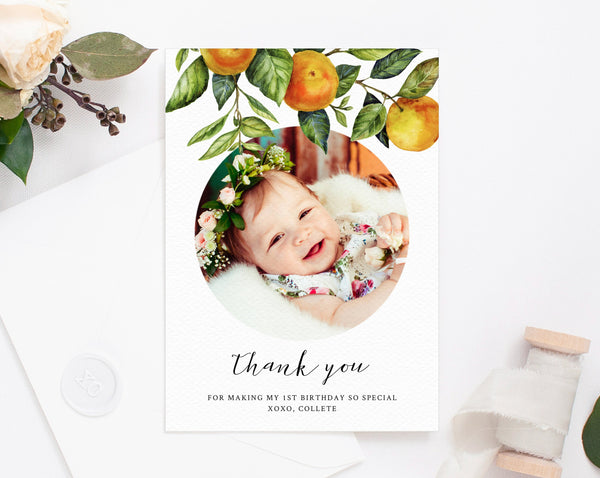 Little Cutie Thank You Card Template, Cutie Birthday Thank You Photo Card, Clementine Birthday Card, Instant Download, Templett