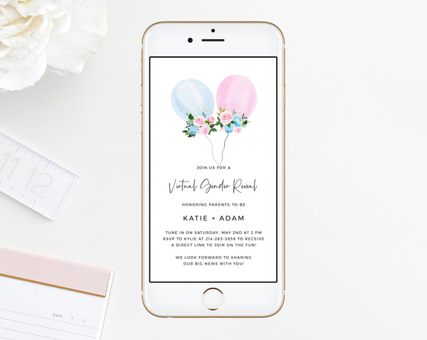 Virtual Gender Reveal Text Invitation Template, Live Video Gender Reveal, Electronic Invite, Instant Download Gender Reveal, Templett, B36