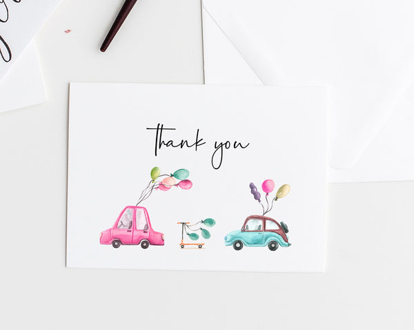Drive By Parade Thank You Card Template, Printable Birthday Thank You Tent Card, Drive By Party, Instant Download, Templett