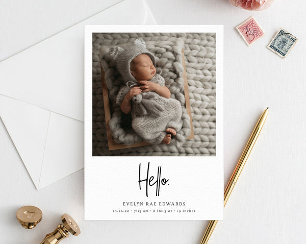 Birth Announcement Card, Introducing Baby Cards, 5x7 Photo Card Template, Printable Newborn Baby Cards, Baby Anouncement, Templett