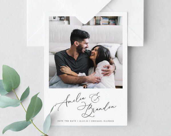 Photo Save the Date, Save the Date with Pictures Template, Printable Save the Date Card, Engagement Photo Save the Dates, Templett, W30