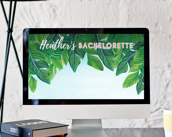 Zoom Virtual Background Template, Tropical Beach Bachelorette Virtual Background, Live Video Chat Background, Instant Download, Templett