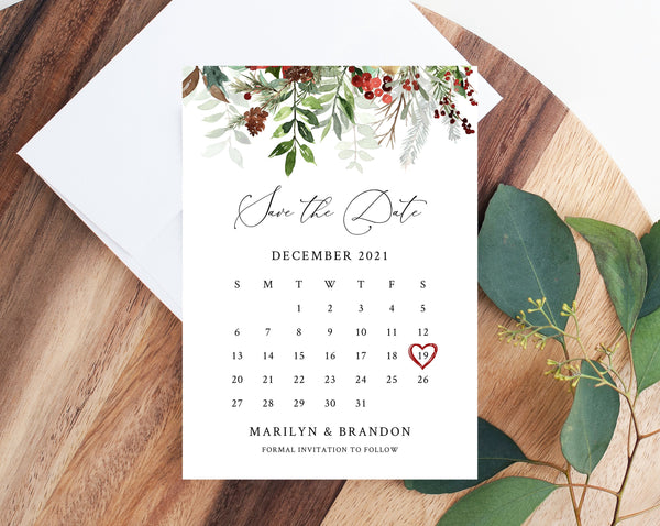 Winter Wedding Save the Date Calendar Template, Christmas Wedding Save the Date Calendar Printable, Winter Greenery Wedding, Templett, W46