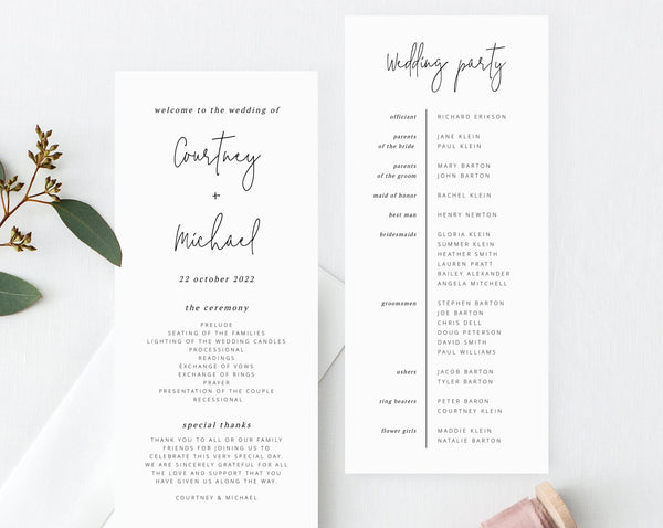 Wedding Program Template, Printable Wedding Program, Simple Wedding Program, Editable Ceremony Programs, Instant Download, Templett, W13