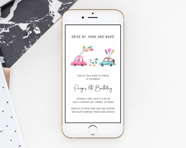 Drive By Birthday Parade Phone Invitation, Drive-By Text Invite, Social Distancing, Digital File, Instant Download, Templett