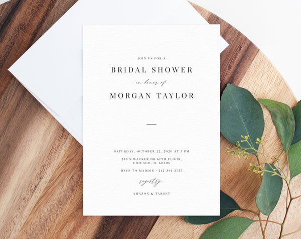 Bridal Shower Invitation Template, Printable Bridal Shower Invite, Minimalist Modern Bridal Shower Digital File, Templett, W52