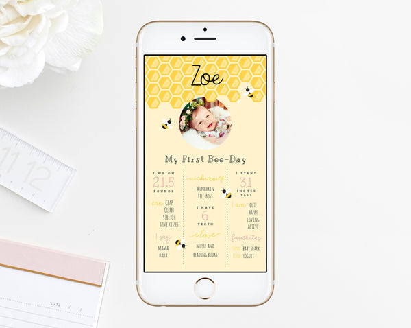 Bee Day First Birthday Announcement Template, Bumble Bee Birthday Text Message, Honeycomb Birthday Milestone IG Story, Templett