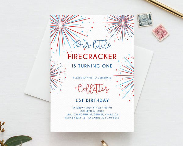 4th of July Birthday Invitation Template, Printable Little Firecracker Birthday Invitation, Independence Day Fireworks, Templett