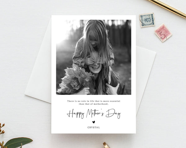 Mother's Day Card Template, Editable Photo Mother's Day Card, Printable Photo Card, Instant Download, Templett