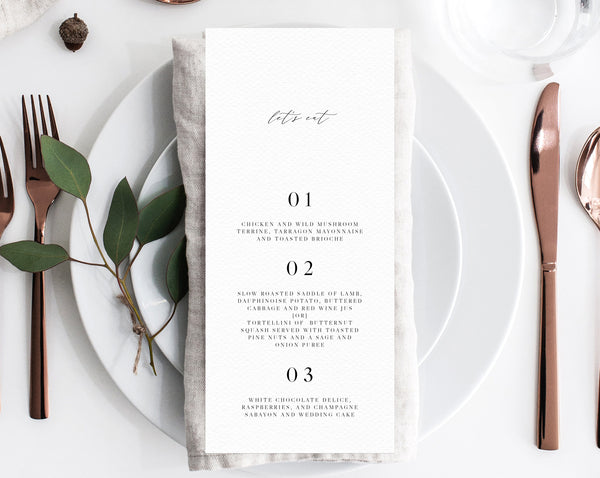 Minimalist Wedding Menu Template, Printable Menu, Editable Wedding Menu, Simple Modern Wedding Menu, DIY Wedding Menu, Templett, W52