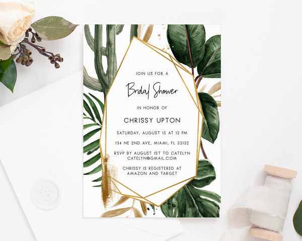 Tropical Bridal Shower Invitation Template, Printable Bridal Shower Invite, Tropical Leaves, Editable Template, Templett, W44