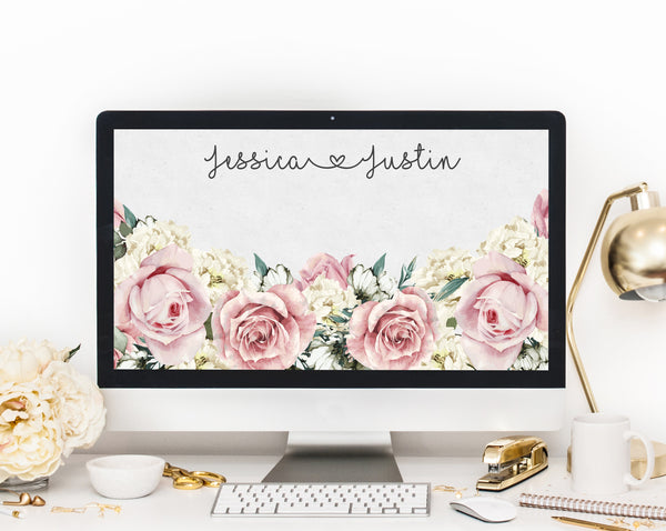 Zoom Virtual Background Template, Zoom Wedding Guests Virtual Background, Live Video Chat Wedding Background, Instant Download, Templett