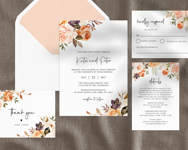 Rustic & Nude Floral Wedding Invitation Template, Printable Wedding Invitation Suite, Golden Peach Wedding Invitation Set, Templett, W51