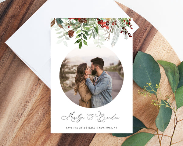 Winter Wedding Photo Save the Date Template, Christmas Wedding Save the Date With Picture, Winter Greenery Photo Card, Templett, W46