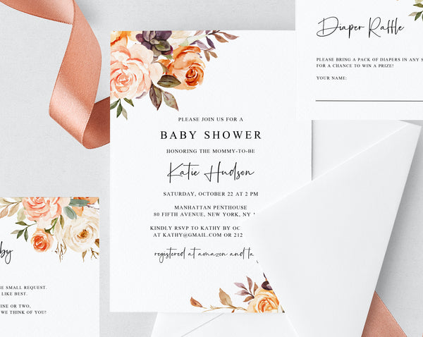 Rustic & Nude Floral Baby Shower Invitation Template, Printable Baby Shower Invite, Warm Floral Baby Shower Invitation, Templett, B51