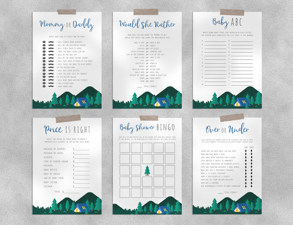 Adventure Awaits Baby Shower Game Templates Bundle, Camping Baby Shower Games Instant Download, Templett, B06