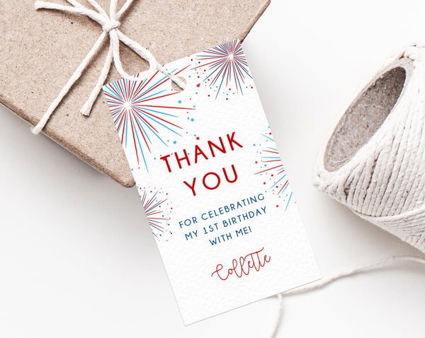 4th Of July Birthday Party Favor Tag Template, Independence Day Birthday Favor Label, Little Firecracker Birthday Thank You Label, Templett