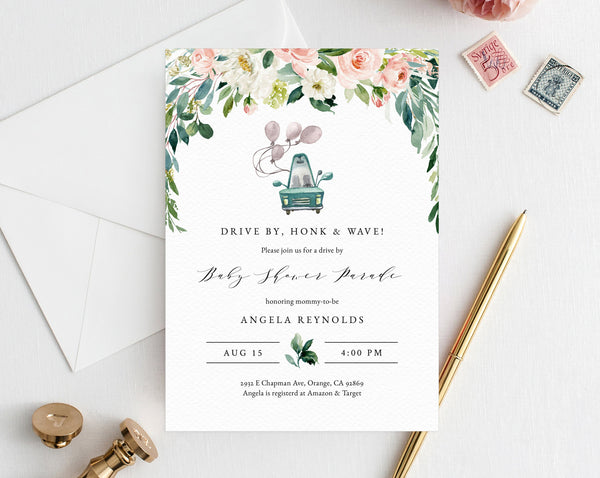 Drive By Baby Shower Parade Invitation, Printable Drive By Celebration Invite, Social Distancing, Instant Download, Templett, B29