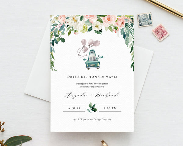 Drive By Wedding Parade Invitation, Printable Drive By Celebration Invite, Social Distancing, Digital File, Instant Download, Templett, W29