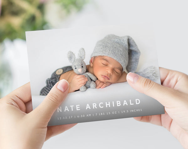 Photo Birth Announcement Card Template, Printable Introducing Newborn Baby Cards Digital File, 5x7 Photo Card Instant Download, Templett