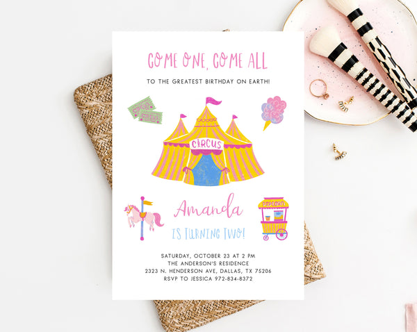 Circus Birthday Invitation Template, Carnival Birthday Party Invitation, Printable Circus Themed Invite, Instant Download, Templett