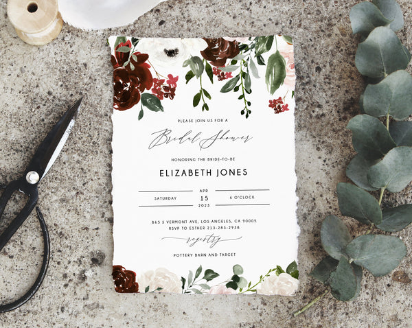 Burgundy Bridal Shower Invitation Template, Boho Chic Bridal Shower Invite, Burgundy Floral Bridal Shower Invites, Templett, W54