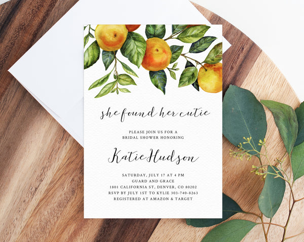 She Found Her Cutie Bridal Shower Invitation Template, Printable Bridal Shower Invite, Clementine Orange Bridal Invitation, Templett