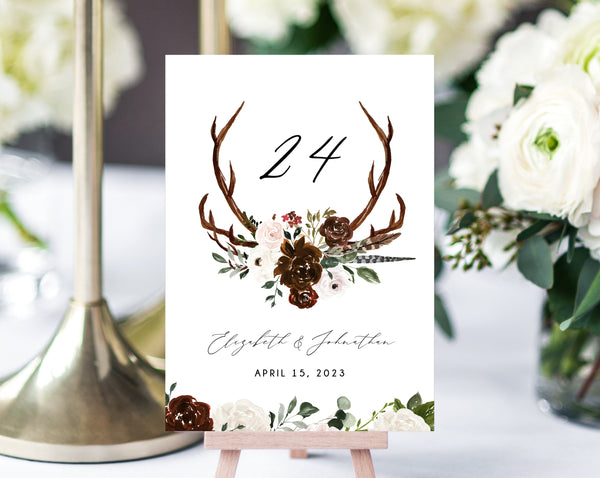 Burgundy Floral Wedding Table Number Template, Printable Boho Chic Wedding Table Numbers, Floral Table Numbers Card Template, Templett, W54