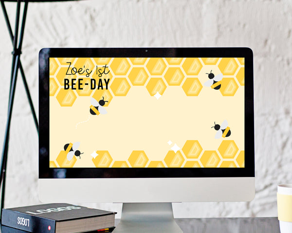 Bee Zoom Virtual Background Template, Zoom Bee-Day Birthday Virtual Background, Live Video Chat, Instant Download, Templett