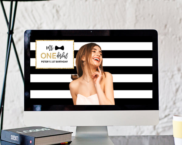 Mr. Onederful Zoom Virtual Background Template, Zoom One-derful Birthday Virtual Background, Live Video Chat, Templett, B02