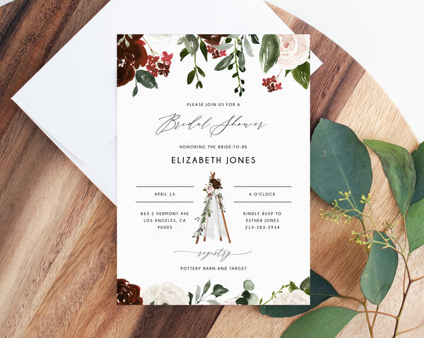 Burgundy Bridal Shower Invitation Template, Boho Chic Bridal Shower Invite, Bohemian Teepee Bridal Shower Invites, Templett, W54