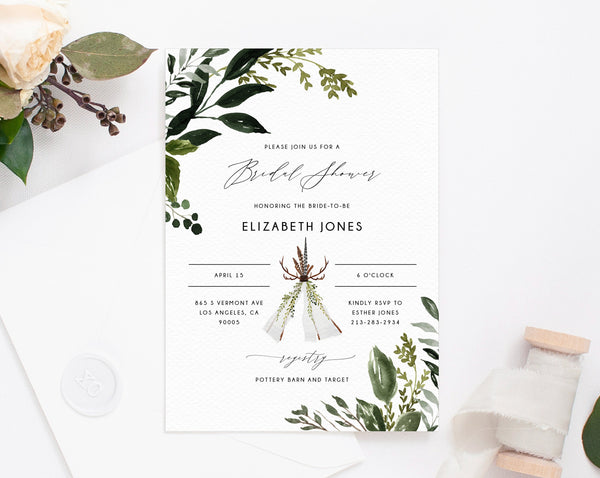Boho Greenery Bridal Shower Invitation Template, Boho Chic Bridal Shower Invite, Woodland Bridal Shower Invites, Templett, W54B