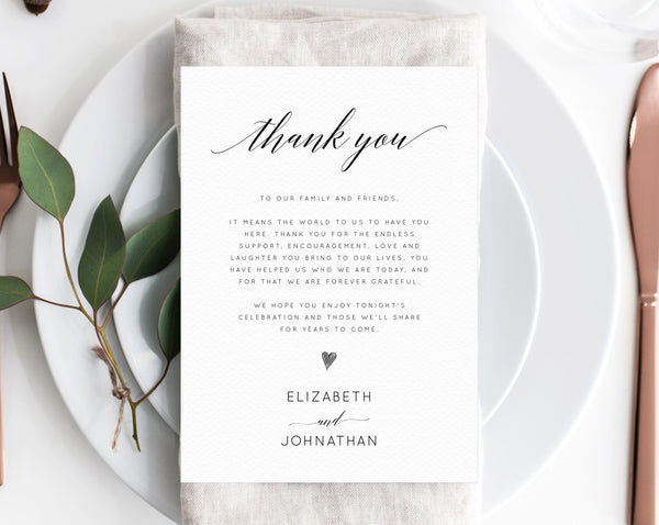Thank You Place Card For Wedding Template, Printable  Thank You Note Seating Card, Wedding Place Cards, Instant Download, Templett, W02