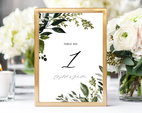 Greenery Wedding Table Number Template, Printable Boho Chic Wedding Table Numbers, Greenery Table Numbers Card Template, Templett, W54B