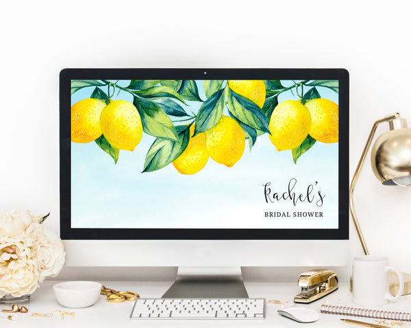 Zoom Virtual Background Template, Main Squeeze Lemon Zoom Bridal Shower Virtual Background, Live Video Chat, Instant Download, Templett