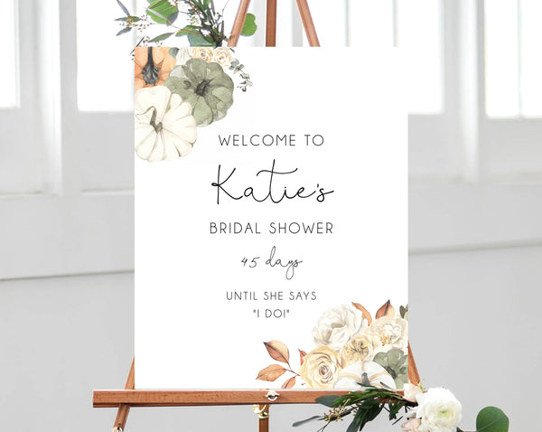 Fall Bridal Shower Welcome Sign Template, Printable Pumpkin Bridal Shower Welcome Sign, Wedding Countdown, Templett, B35