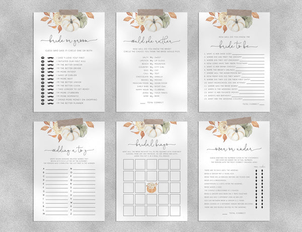 Bridal Shower Game Templates Bundle, Thanksgiving Bridal Shower Games Instant Download, Fall Engagement Party, Wedding Shower, Templett, B35
