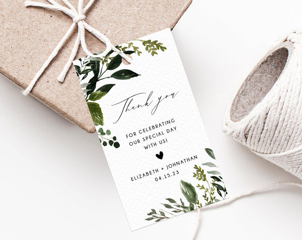 Boho Greenery Wedding Favor Tag Template, Thank You Tag, Favor Label, Wedding Gift Tags, Floral Favor Tag Printable, Templett, W54B, B54B