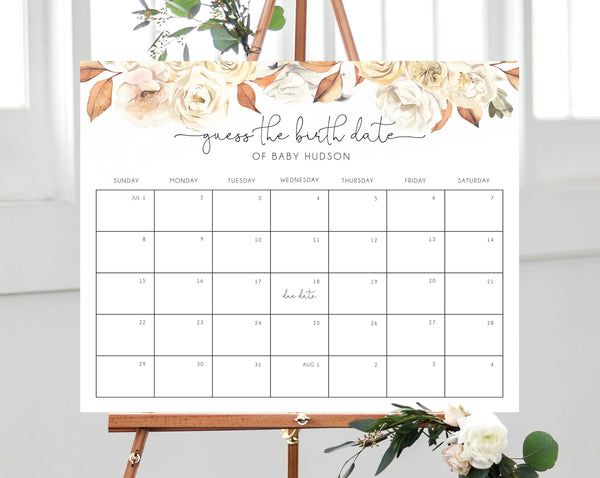 Fall Baby Shower Due Date Calendar Template, Baby Due Date Game, Printable Baby Birthday Predictions, Guess The Due Date, Templett, B35