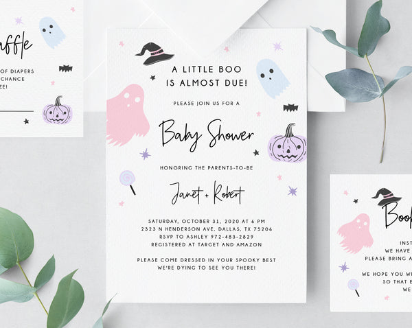 Halloween Baby Shower Invitation Template, Printable Pastel Halloween Invite, Halloween Costume Party, Instant Download, Templett, B24